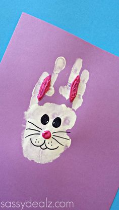 Bunny Rabbit Handprint Craft For Kids (Easter Idea) - Crafty Morning