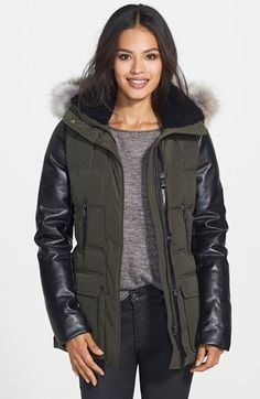 Free shipping and returns on Mackage 'Orla' Leather Sleeve Down Parka with Genuine Coyote Fur at Nordstrom.com. Supple leather sleeves and trim update an exquisite cold-weather parka in a fitted shape insulated with premium down fill. The crowning touch: a detachable hood is trimmed with a ring of sumptuous coyote fur and lined with plush shearling fur.