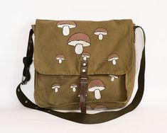 Vintage Military Bag with Hand-painted Mushrooms