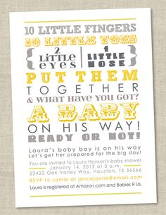 Gray and Yellow Baby Shower Invitation - 10 little fingers, gender reveal - neutral grey invite - subway art invite (Printable Digital File) by miragreetings on Etsy Baby Shower Parties, Baby Shower Themes, Baby Shower Decorations, Shower Ideas, Baby Shower Yellow, Gender Neutral Baby Shower, As You Like, Just In Case, Baby Boy Shower