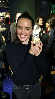 Daisy Ridley with BB8 toy. I got this BB8 for Christmas and it is so cool. Use your smart phone to control it.