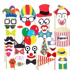 COOLOOdirect 36 Pcs Attached Photo Booth Props,Diy Kit For Party Favors for Wedding Birthday Carnival Bachelorette Acessories Party Clowns For Birthday Parties, Circus Birthday, Circus Theme, Circus Clown, Birthday Ideas, Birthday Supplies, Diy Birthday, Carnival Photo Booths, Photo Booth Party Props