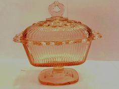 Pedestal Candy Dish Lace Edge Pink Depression Glass