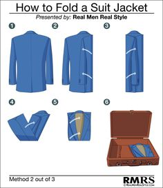 How To Fold A Suit Jacket - Method Two of Three - How to properly pack a sport jacket blazer or suit jacket.