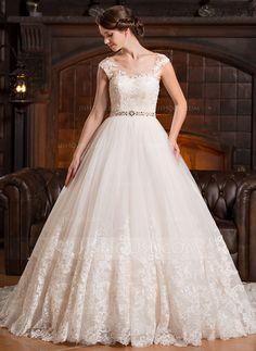 Balklänning Rund-urringning Chapel släp Tyll Bröllopsklänning med Pärlbrodering Applikationer Spetsar Paljetter (002056486)