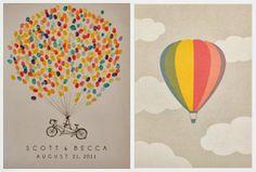 Balloon-themed wedding invitation