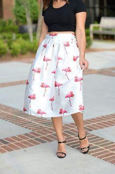flamingo midi skirt and black crop top via @mystylevita
