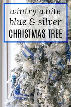 I love this wintry white, blue and silver Christmas tree decor! Lots of ideas for beautiful, glam Christmas decorations made with ribbon and crystal ornaments. Blue Christmas Tree Decorations, Silver Christmas Tree, Ribbon On Christmas Tree, Diy Christmas Ornaments, Christmas Trees, White Christmas, Merry Christmas, White Ornaments, Butterfly Ornaments