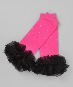 Take a look at this Pink & Black Bling Ruffle Leg Warmers by Born 4 Couture on #zulily today!