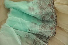 Embroidery Lace Trim in Aqua Mesh 2 yards by lacetime on Etsy