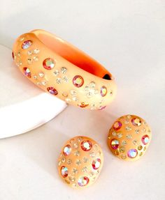 Soft Coral or Peach Thermoset and Rhinestone by Vintageimagine