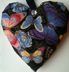 Butterfly Fabric Heart Lavender Bag - Handmade