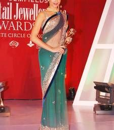 Buy Pure Net bollywood actress deepika padukone inspired designer saree in Aqua color deepika-padukone-saree online