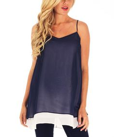 Look at this #zulilyfind! Navy Blue Layered Chiffon Maternity Tank by PinkBlush Maternity #zulilyfinds