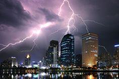 Electric City by Jkboy Jatenipat on Lightning Flash, Thunder And Lightning, Lightning Strikes, Lightning Storms, Lightning Photography, Wild Weather, Cool Wallpaper, Belle Photo, Mother Nature