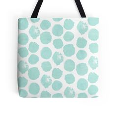 Mint green polka dot tote bag, available in multiple sizes. Pastel green blob dots.