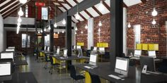 Google Umbono Render by Haldane Martin Co Working, Working Area, Contemporary Interior, Beams, Layout, Windows, Interior Design, Architecture, Offices