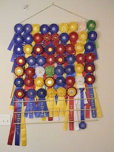 Custom Equestrian Hanging Ribbon Rack - 11 ROWS - holds up to 99 ribbons Horse Ribbon Display, Show Ribbon Display, Horse Show Ribbons, Ribbon Quilt, Diy Ribbon, Ribbon Crafts, Ribbon Wall, Ribbon Holders, Award Display