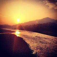 Beautiful sunset at Secchia river - Instagram by @berk3lia
