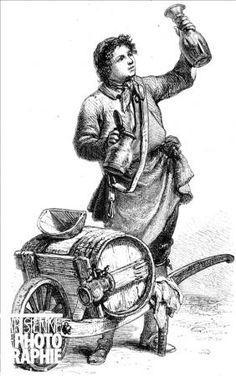 PARIS - VINAIGRIER  Vinaigrier avec sa brouette. Paris, 1774. Dessin de Mouilleron, d'après Poisson. RV-337408