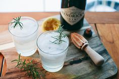 Gin & tonic with rosemary-infused simple syrup