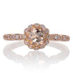 14K Morganite Engagement Ring Rose Gold 6mm Alternative by samnsue
