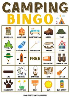 camping bingo cards camping bingo printable camping bingo game printable camping bingo free printable camping bingo board camping bingo printable cards camping bingo pdf camping bingo sheets camping bingo cards free free printable camping bingo cards camping themed bingo printable free printable camping bingo game Camping Bingo, Camping Activities For Kids, Camping With Toddlers, Activities For Adults, Printable Activities For Kids, Rain Camping, Kids Camp, Backyard Camping, Road Trip With Kids