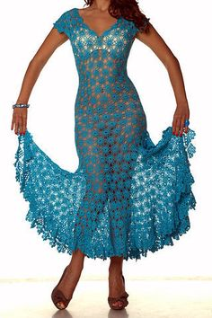 Awesome Blue Dress free crochet graph pattern. Little bit of lining would make it even appropriate. ;)