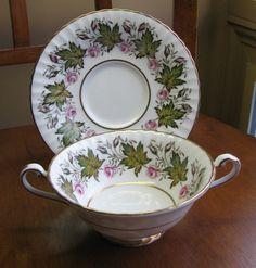 PARAGON Princess Elizabeth Pink Rose Bone China England Cream Soup Bowl & Saucer #Paragon
