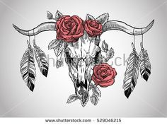 bull skull with roses on her head, and with feathers hanging from the horns. Graphic illustration technique, linework
