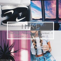 """793 curtidas, 23 comentários - vsco themes (@vsco.themes) no Instagram: """"NIKE #vtfree - Really bright filter that goes with everything. Super easy to achieve and looks…"""""""