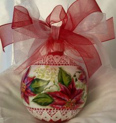 Hand Painted Christmas Ornament Poinsettia Cottage Chic Shabby Lace Hp