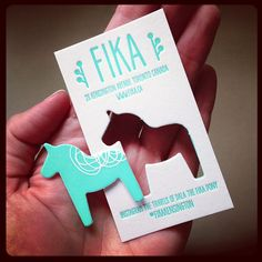 Letterpressed diecut biz cards for FIKA Cafe in Toronto. Take the pony with you… Cafe Branding, Bakery Cafe, Fika, Coffee Art, Wabi Sabi, Coffee Break, Hygge, Aqua Blue, Letterpress
