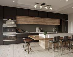 Modern Kitchen on Behance Industrial Kitchen Design, Kitchen Room Design, Kitchen Cabinet Design, Modern Kitchen Design, Living Room Kitchen, Home Decor Kitchen, Interior Design Kitchen, Home Kitchens, Open Concept Kitchen