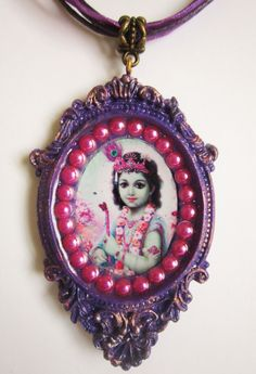 handmade by me    one of a kind necklace with cameo pendant    colorful and extravagant krishna necklace    the pendant measures 1.65 x 2.5 (4 x