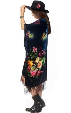 Midnight Bloom Velvet Kimono - Saltwater Gypsy #saltwatergypsy #kimono