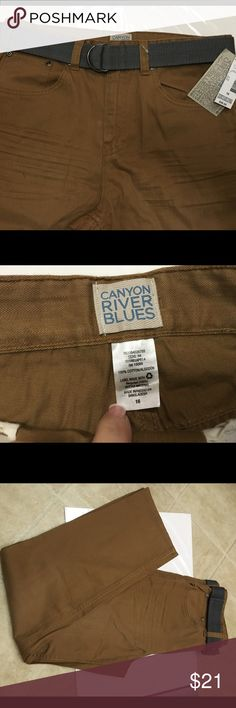 Boys Young Mens 5 Pocket Belted Brown Pants NWT New with tags. MSRP $38 Size 16. Comes with belt as shown. Canyon River Creek Bottoms Casual