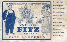 Fitz Overalls Ad Postcard, c.1910