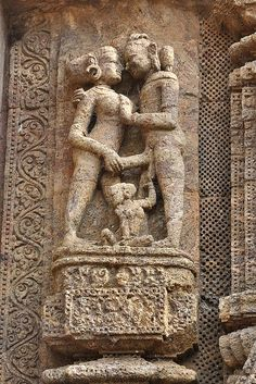 A 13th Century Mithuna Sculpture on the wall of Konark Sun Temple, Konark, Odisha, India
