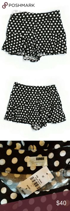 "NWT LF Rumor Boutique B&W Polka Dot Shorts Measurements laying flat- Length 12"" Waist 14"" Hips 19""  #NWT #lf #rumor #boutique #black #white #blackandwhite #slouchy #flowy #airy #loose #soft #silky #comfy #shorts #spring #summer #boho #beach #bonfire #swim #vacation #holiday #party #event  M4 LF Shorts"