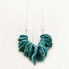 Sonora Nacozari Turquoise Statement Necklace in Sterling Silver / Untreated December Birthstone / long colorful / ocean sea sky inspired by byjodi on Etsy https://www.etsy.com/listing/170829771/sonora-nacozari-turquoise-statement