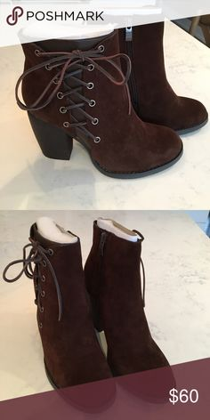 Brown suede look bootie Brown suede look bootie. Lace up on side. Never been worn! Brand new! Darling with skinny jeans or flirty dresses! Volatile Shoes Ankle Boots & Booties