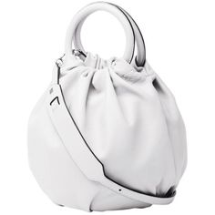 Loewe White Nappa Bounce Bag (€1.745) ❤ liked on Polyvore featuring bags, handbags, soft white, top handle handbags, top handle bag, loewe handbag, top handle purse and white bags