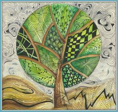 Original pen and paper drawing on watercolour background by Connie Taylor.  #zentangle inspired #tangle #doodle