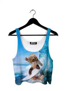 Sloth Surfer Crop Top by Beloved Shirts