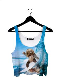 New Years Resolution #9 Learn to surf http://iedm.com/ Sloth Surfer Crop Top
