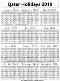Image Result For Qatar Calendar 2019 With Holidays Calendar 2019 With Holidays Calendar Week Number
