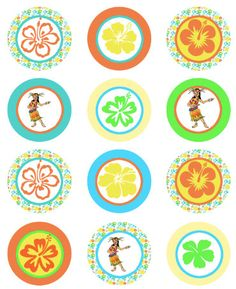 Hawaii Luau Party Cupcake Topper  DIY party file by worldwideparty, $4.00