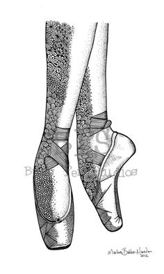 Classic Ballet Pointe shoes print, drawn on Pointe