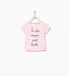 Organic cotton stripes and text t-shirt-T-shirts-Baby girl (3 months - 3 years)-KIDS | ZARA United States